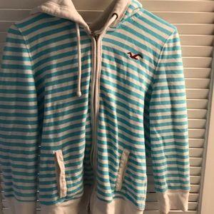 Hollister blue striped large ladies zip up hoodie
